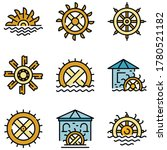 Water Mill Icons Set. Outline...