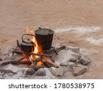 Camp Site And Campfire Site In...