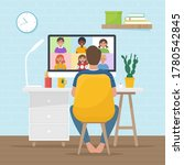 video conference with school... | Shutterstock .eps vector #1780542845