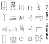 vector set of sketch furniture... | Shutterstock .eps vector #178056716