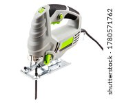 Small photo of Powerful electric jigsaw on a white background. An indispensable tool for a carpenter.