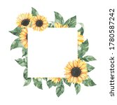 watercolor summer frame with... | Shutterstock . vector #1780587242