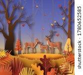 paper art style of autumn... | Shutterstock .eps vector #1780652585