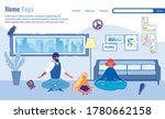 whole family is doing home yoga ... | Shutterstock .eps vector #1780662158