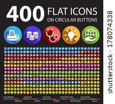 400 flat icons on circular... | Shutterstock .eps vector #178074338