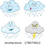 raining clouds cartoon... | Shutterstock .eps vector #178074812
