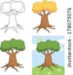 big cartoon tree cartoon... | Shutterstock .eps vector #178075076