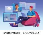 businessmen use video...   Shutterstock .eps vector #1780901615