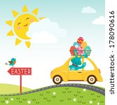 easter bunny carries eggs for...   Shutterstock .eps vector #178090616