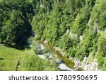 Mountain Stream In Aerial View...