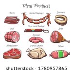 colorful set of appetizing meat ... | Shutterstock .eps vector #1780957865