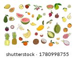 big set fruits. bright and... | Shutterstock .eps vector #1780998755