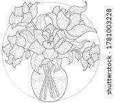 peony bouquet in a vase....   Shutterstock .eps vector #1781003228