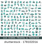165 icons set with reflection ... | Shutterstock .eps vector #178102016