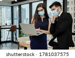 Small photo of Group of young business cooperate and create agreements in the organization. They are communicate via email and submit international trade business. Real estate and stock market concept. Soft focus.