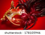 a red  gold and black mardi... | Shutterstock . vector #178105946
