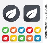 leaf sign icon. fresh natural... | Shutterstock .eps vector #178110086