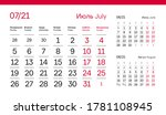 july page. 12 months premium...   Shutterstock .eps vector #1781108945