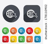 Internet sign icon. World wide web symbol. Cursor pointer. Circles and rounded squares 12 buttons. Vector