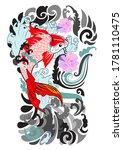 koi fish tattoo.beautiful color ... | Shutterstock .eps vector #1781110475