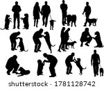 people silhouettes with dog. b... | Shutterstock .eps vector #1781128742