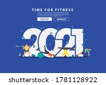 2021 new year fitness ideas... | Shutterstock .eps vector #1781128922