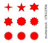 set of many different red stars ... | Shutterstock . vector #178112906