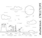 hamburg sea port  marine cargo...   Shutterstock .eps vector #1781171195
