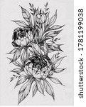 tattoo branch of flowers.... | Shutterstock . vector #1781199038
