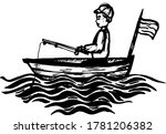 Fisherman Boy Sitting In A Boat ...