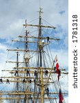 Tall Ships Race Antwerp 2006, sailors in the mast of an ancient teaching ship - stock photo