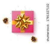 pink gift box with golden... | Shutterstock .eps vector #1781327132