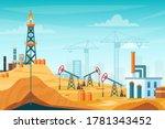 oil extraction landscape vector ... | Shutterstock .eps vector #1781343452