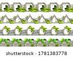 set of seamless old gray border ...   Shutterstock .eps vector #1781383778