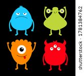 monster colorful silhouette set.... | Shutterstock . vector #1781384762