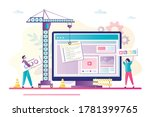 business people and crane... | Shutterstock .eps vector #1781399765