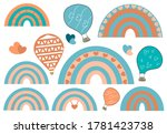 set of colourful rainbows... | Shutterstock .eps vector #1781423738