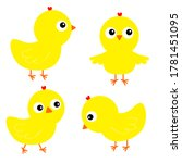 chicken chick bird set. face... | Shutterstock .eps vector #1781451095