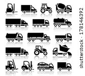 set of truck black icons.... | Shutterstock .eps vector #178146392
