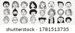 hand drawn human faces doodle... | Shutterstock .eps vector #1781513735
