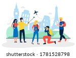 tourists with medical masks are ... | Shutterstock .eps vector #1781528798