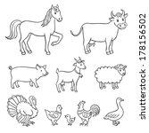 farm animals in contours | Shutterstock .eps vector #178156502