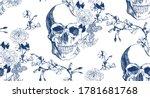Vintage Blue Skull With...