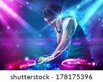 Young Energetic Dj Mixing Musi...