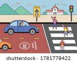in the school zone  children... | Shutterstock .eps vector #1781778422