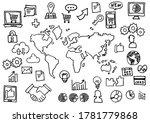 handwriting icon set   world... | Shutterstock . vector #1781779868