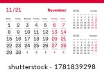 november page. 12 months... | Shutterstock .eps vector #1781839298
