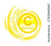 Vitamin C. Vitamin C Gold Icon. ...