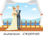 happy just married couple at... | Shutterstock .eps vector #1781859185