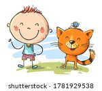 happy child with his cat... | Shutterstock .eps vector #1781929538